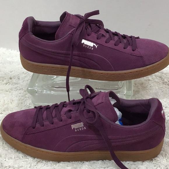 Puma Purple Suede Low Top Sneakers Mens
